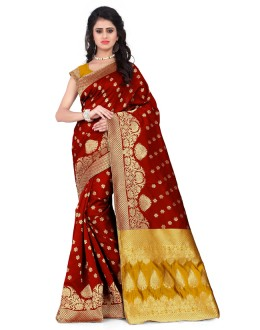 Party Wear Maroon & Yellow Banarasi Silk Saree  - 20015