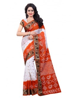 Party Wear White & Orange Cotton Silk Saree  - 20020