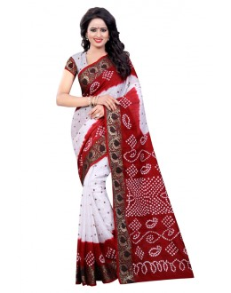 Ethanic Wear White & Red Cotton Silk Saree  - 20021