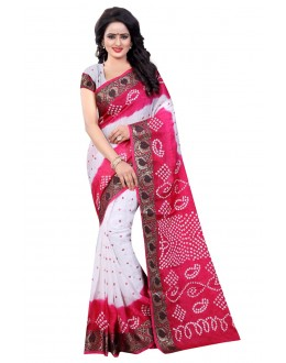 Festival Wear White & Pink Cotton Silk Saree  - 20022