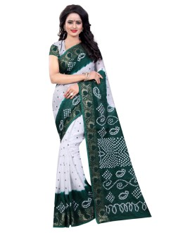 Wedding Wear White & Green Cotton Silk Saree  - 20023