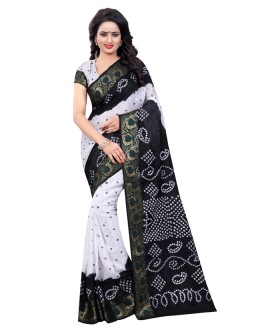 Casual Wear White & Black Cotton Silk Saree  - 20024