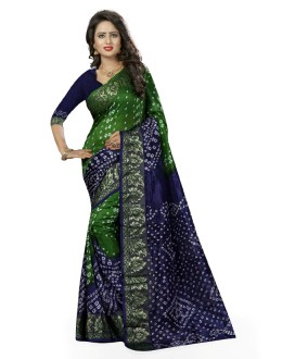 Traditional Wear Green & Blue Cotton Silk Saree  - 20025