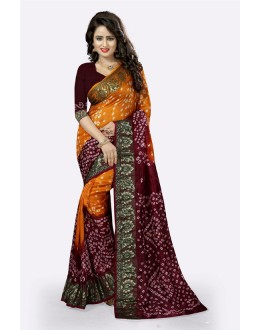 Festival Wear Orange & Maroon Cotton Silk Saree  - 20026