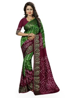 Ethanic Wear Green & Maroon Cotton Silk Saree  - 20027