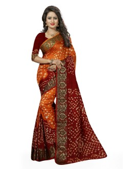 Wedding Wear Orange & Red Cotton Silk Saree  - 20028
