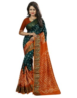 Casual Wear Green & Orange Cotton Silk Saree  - 20029