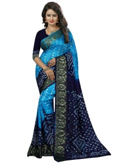 Festival Wear Blue & Purple Cotton Silk Saree  - 20030