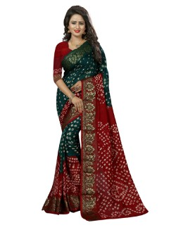 Traditional Wear Green & Red Cotton Silk Saree  - 20031
