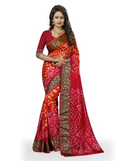 Party Wear Orange & Pink Cotton Silk Saree  - 20032