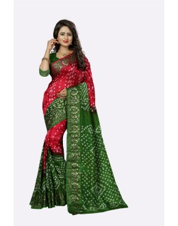 Casual Wear Red & Green Cotton Silk Saree  - 20033