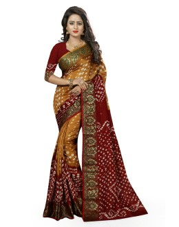 Festival Wear Yellow & Maroon Cotton Silk Saree  - 20034