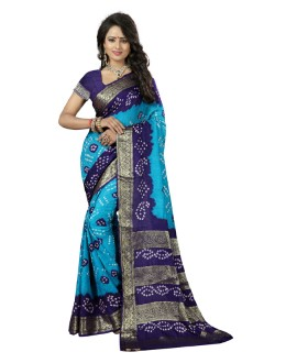 Festival Wear Blue & Purple Cotton Silk Saree  - 20036