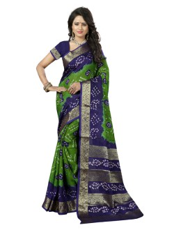 Casual Wear Green & Purple Cotton Silk Saree  - 20037