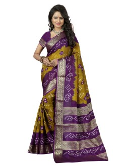 Party Wear Yellow & Purple Cotton Silk Saree  - 20039