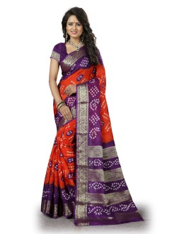 Party Wear Orange& Purple Cotton Silk Saree  - 20040