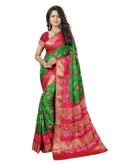 Casual Wear Green & Pink Cotton Silk Saree  - 20042