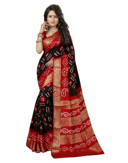 Ethanic Wear Black & Red Cotton Silk Saree  - 20043
