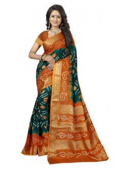 Traditional Wear Green & Yellow Cotton Silk Saree  - 20044