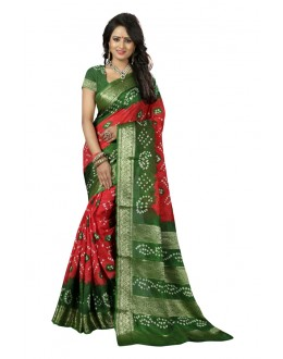 Party Wear Pink & Green Cotton Silk Saree  - 20045