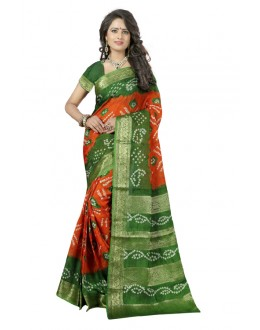 Wedding Wear Orange & Green Cotton Silk Saree  - 20046