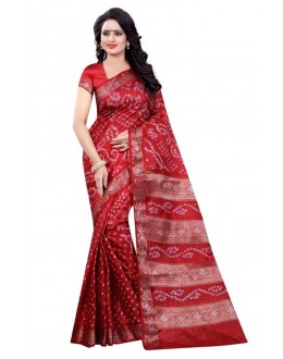 Ethanic Wear Red Cotton Silk Saree  - 20048