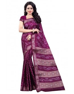Traditional Wear Purple Cotton Silk Saree  - 20049