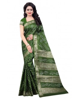 Wedding Wear Green Cotton Silk Saree  - 20050