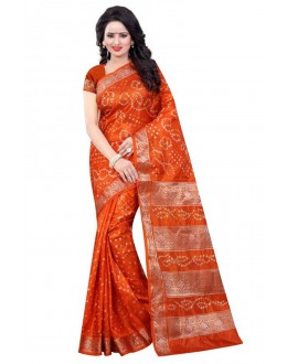 Party Wear Orange Cotton Silk Saree  - 20053