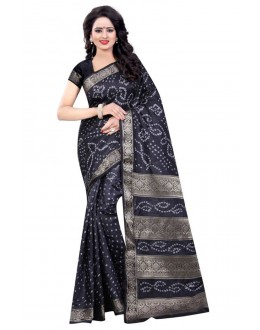 Wedding Wear Black Cotton Silk Saree  - 20056