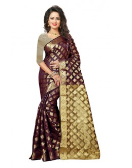 Casual Wear Maroon Cotton Saree  - 20058