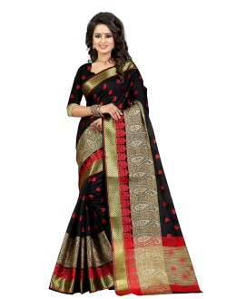 Ethanic Wear Black Cotton Saree  - 20059