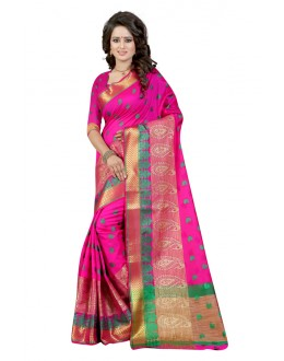 Festival Wear Pink Cotton Saree  - 20060