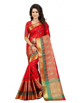 Wedding Wear Red Cotton Saree  - 20061