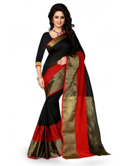 Traditional Wear Black Cotton Saree  - 20062