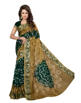 Ethanic Wear Mehandi & Rama Cotton Silk Saree  - 20064