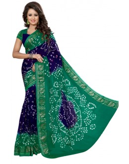 Party  Wear Blue & Rama Cotton Silk Saree  - 20068