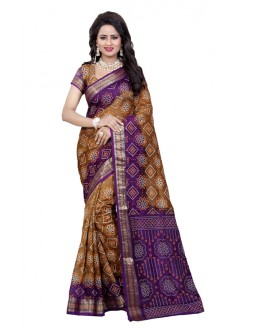 Casual Wear Mazanta & Rush Cotton Silk Saree  - 20072