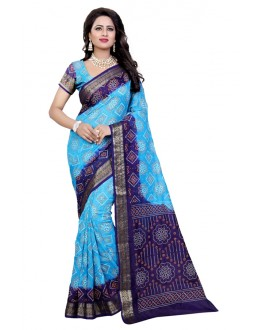 Ethanic Wear Blue & Firoji Cotton Silk Saree  - 20073