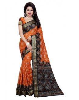 Party Wear Black & Fenta Cotton Silk Saree  - 20074