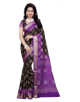 Wedding Wear Mazanta & Black Cotton Silk Saree  - 20076