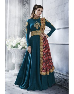 Festival Wear Morpeach Silk Anarkali Suit - 20079