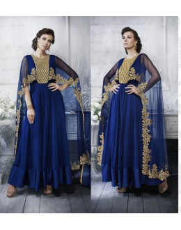 Party Wear Blue Georgette Cape Anarkali Suit - 20081