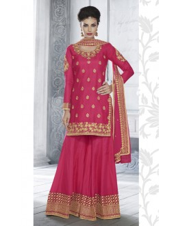 Festival Wear Pink Tussar Silk Chaniya Choli - 20082