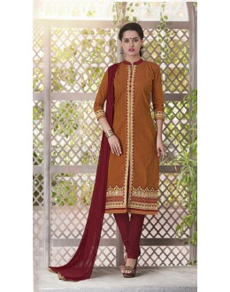 Ethnic Wear Readymade South Cotton Orange Salwar Suit - 20083