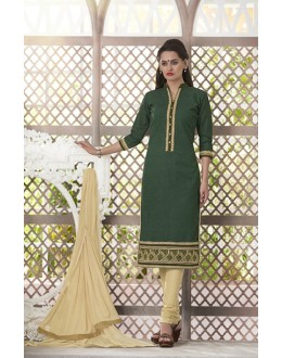 Wedding Wear Readymade South Cotton Green Salwar Suit - 20086