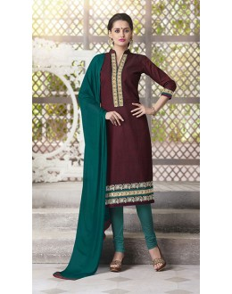 Party Wear Readymade South Cotton Maroon Salwar Suit - 20089