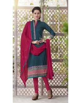 Party Wear Readymade South Cotton Teal Salwar Suit - 20094