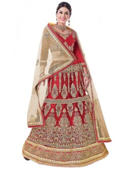 Traditional Wear Red Net Lehenga Choli - 20101