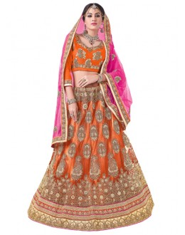 Wedding Wear Orange Net Lehenga Choli - 20102
